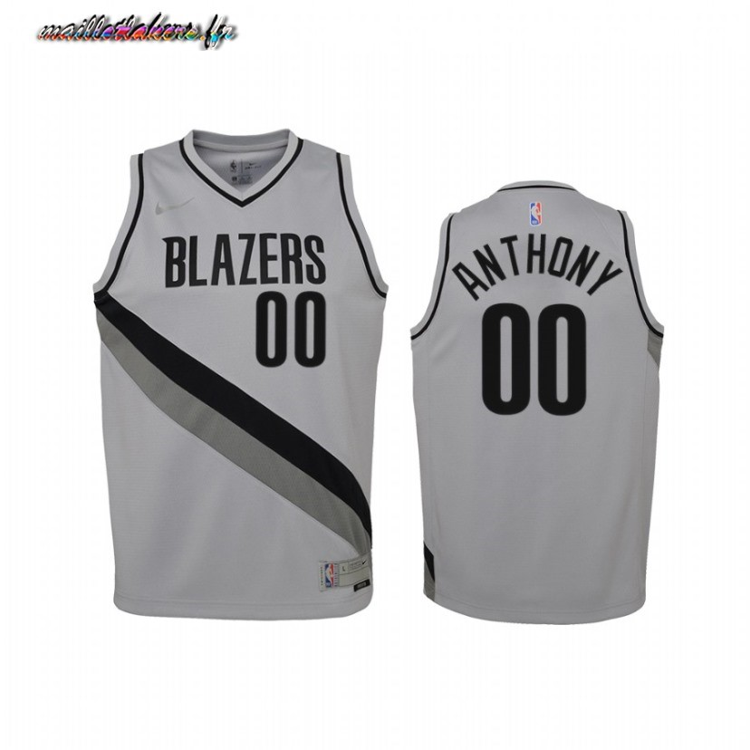 Maillot NBA Enfant Earned Edition Portland Trail Blazers NO.00 Carmelo Anthony Gris 2021 Pas Cher