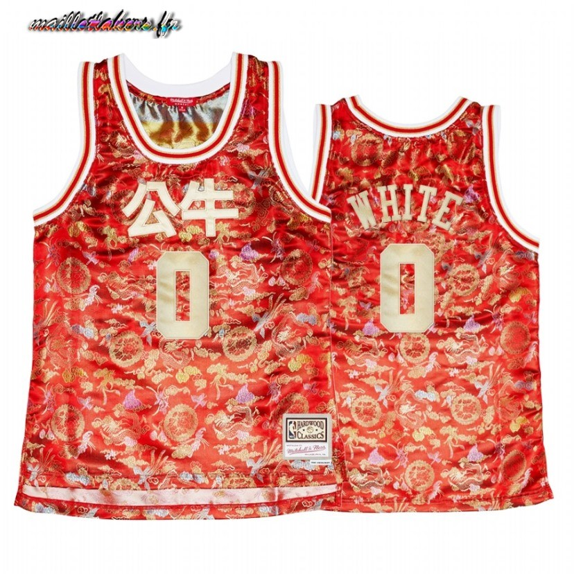 Maillot NBA Femme Chicago Bulls NO.0 Coby White CNY Rouge Hardwood Classics 2021 Pas Cher