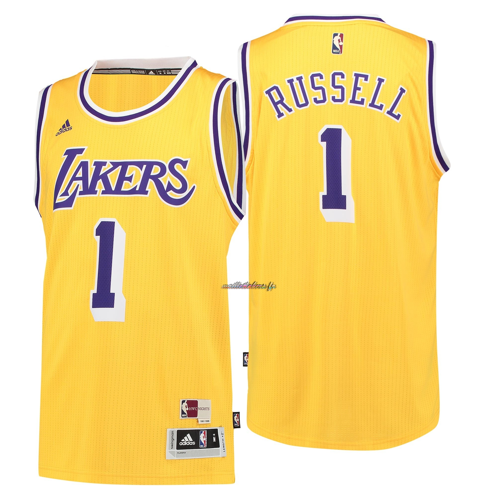 Maillot NBA Los Angeles Lakers NO.1 D'Angelo Russell Retro Bleu Pas Cher