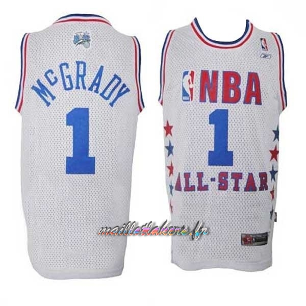Maillot NBA 2003 All Star NO.1 Tracy McGrady Blanc Pas Cher
