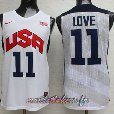 Maillot NBA 2012 USA NO.11 Kevin Love Blanc Pas Cher