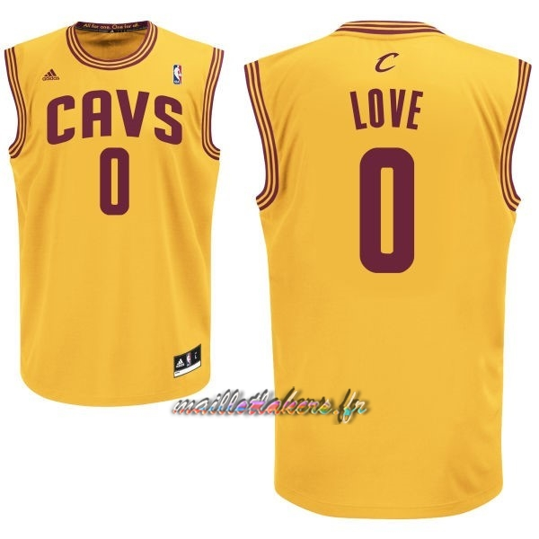 Maillot NBA Cleveland Cavaliers NO.0 Kevin Love Jaune Pas Cher