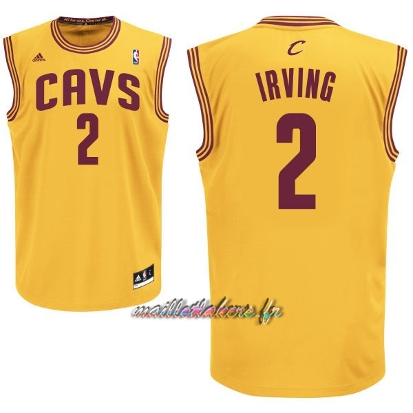 Maillot NBA Cleveland Cavaliers NO.2 Kyrie Irving Jaune Pas Cher
