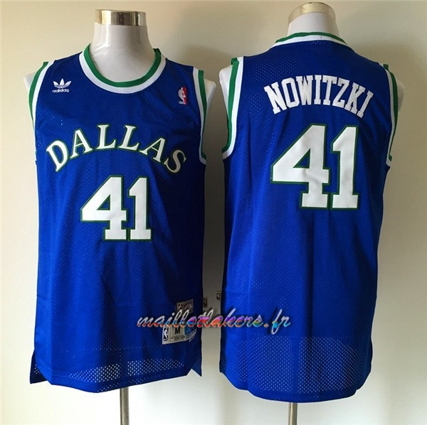 Maillot NBA Dallas Mavericks NO.41 Dirk Nowitzki Retro Bleu Pas Cher
