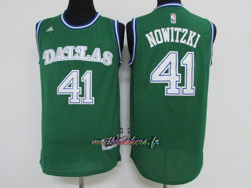 Maillot NBA Dallas Mavericks NO.41 Dirk Nowitzki Vert Pas Cher