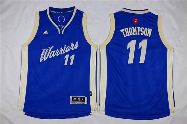 Maillot NBA Enfant 2015 Noël Golden State Warriors NO.11 Klay Thompson Bleu Pas Cher