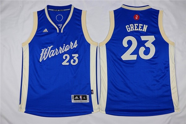 Maillot NBA Enfant 2015 Noël Golden State Warriors NO.23 Draymond Green Bleu Pas Cher