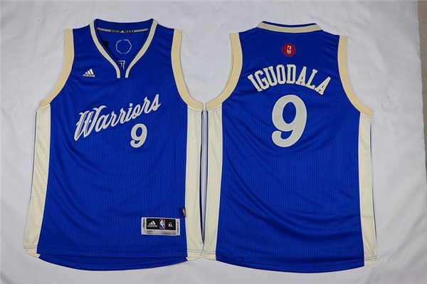 Maillot NBA Enfant 2015 Noël Golden State Warriors NO.9 Andre Iguodala Bleu Pas Cher
