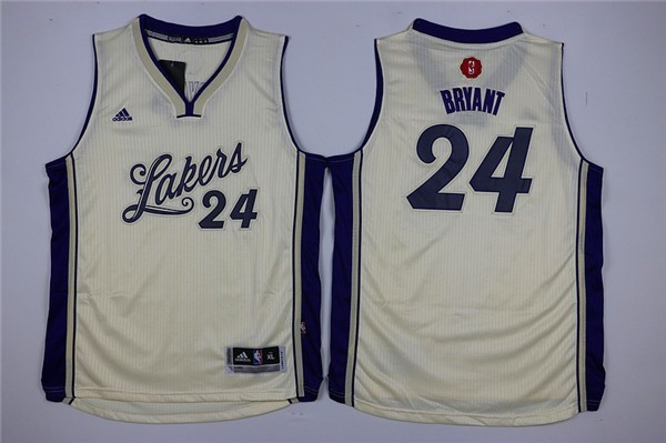 Maillot NBA Enfant 2015 Noël Los Angeles Lakers NO.24 Kobe Bryant Blanc Pas Cher