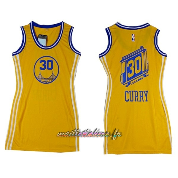 Maillot NBA Femme Golden State Warriors NO.30 Stephen Curry Jaune Pas Cher