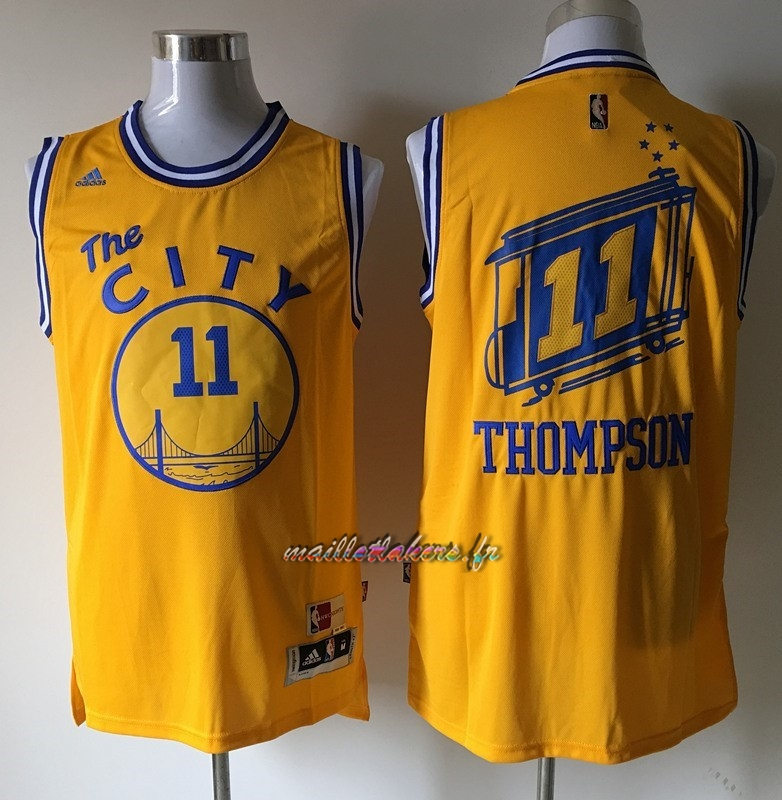Maillot NBA Golden State Warriors NO.11 Klay Thompson Jaune Pas Cher