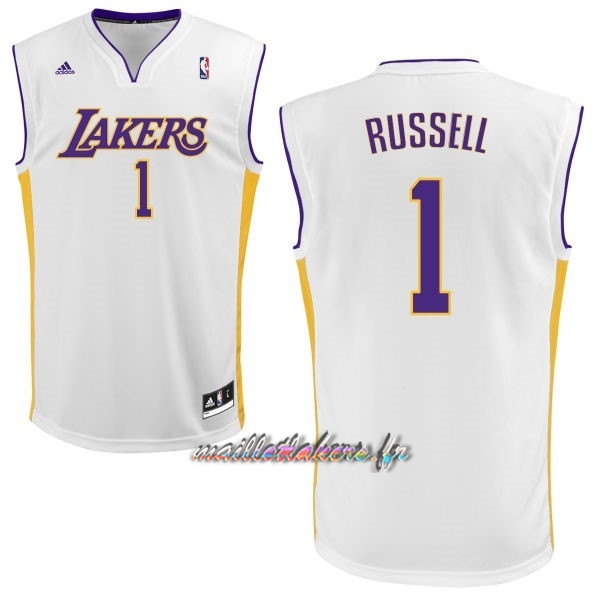 Maillot NBA Los Angeles Lakers NO.1 D'Angelo Russell Blanc Pas Cher