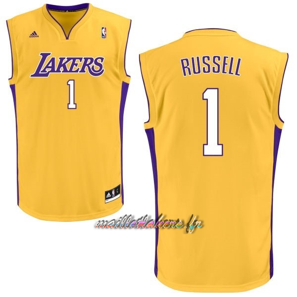 Maillot NBA Los Angeles Lakers NO.1 D'Angelo Russell Jaune Pas Cher