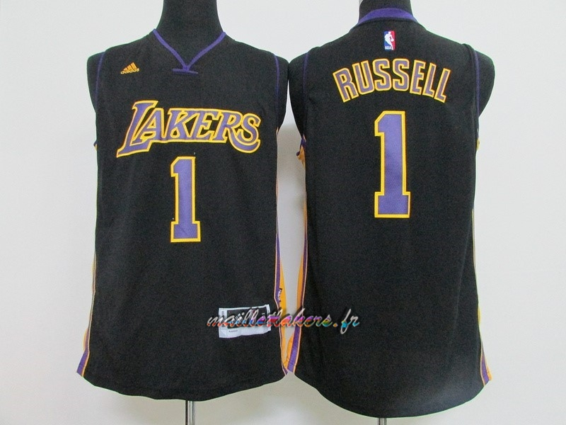 Maillot NBA Los Angeles Lakers NO.1 D'Angelo Russell Noir Pas Cher