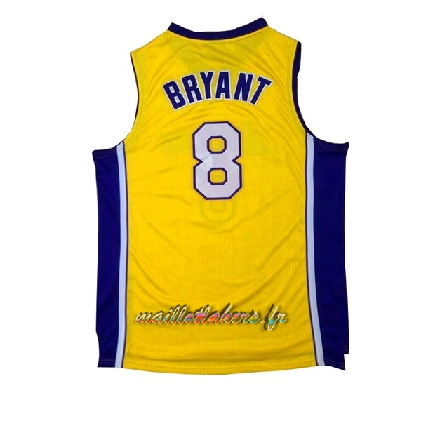 Maillot NBA Los Angeles Lakers NO.8 Kobe Bryant Jaune Pourpre Pas Cher
