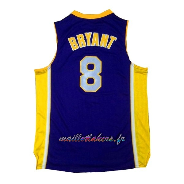 Maillot NBA Los Angeles Lakers NO.8 Kobe Bryant Pourpre Jaune Pas Cher