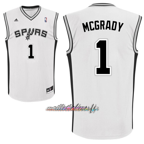 Maillot NBA San Antonio Spurs NO.1 Tracy McGrady Blanc Pas Cher
